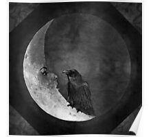 The Crow and its Moon (black and white version) Poster
