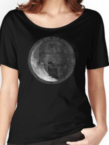 The Crow and its Moon (black and white version) Women's Relaxed Fit T-Shirt