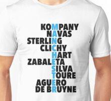 Manchester City spelt using player names Unisex T-Shirt