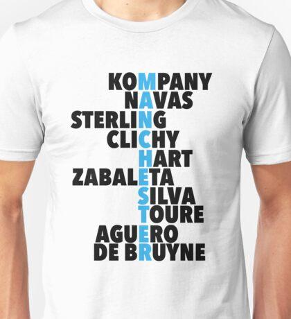 Manchester City spelt using player names Unisex T-Shirt