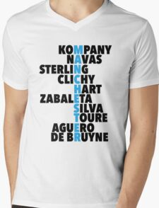 Manchester City spelt using player names Mens V-Neck T-Shirt