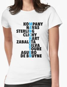 Manchester City spelt using player names Womens Fitted T-Shirt