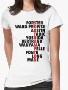 Southampton spelt using player names Womens Fitted T-Shirt