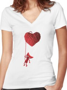 Unravel Yarny Heart Women's Fitted V-Neck T-Shirt