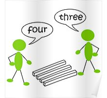 Optical illution Four or Three Poster