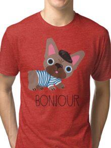 Bonjour little Frenchie! Tri-blend T-Shirt