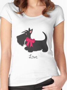 Love Scottie Dog Women's Fitted Scoop T-Shirt