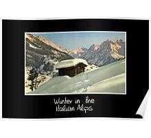 Winter in the Italian Alps, retro style  travel Poster
