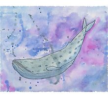 Valis - Watercolor and Black Pen Whale Photographic Print