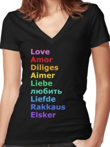 Love (languages) Women's Fitted V-Neck T-Shirt
