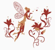 Fairy Silhouette with flowers One Piece - Short Sleeve