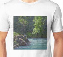Favorite Spot - Original Fishing on the River Painting Unisex T-Shirt