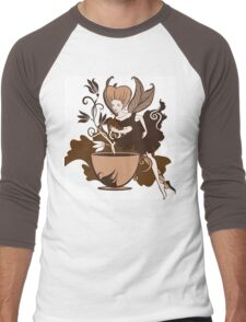 Color illustration of a beautiful coffee's fairy on a floral background Men's Baseball ¾ T-Shirt