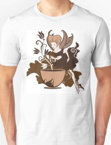 Color illustration of a beautiful coffee's fairy on a floral background Unisex T-Shirt