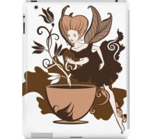 Color illustration of a beautiful coffee's fairy on a floral background iPad Case/Skin