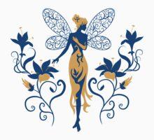 Fairy silhouette with wings between flowers Baby Tee