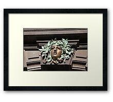 mascaron female head  Framed Print