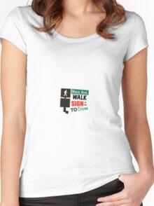 Mass Avenue Walk Sign Women's Fitted Scoop T-Shirt