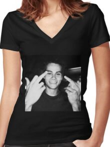 dylan o brien  Women's Fitted V-Neck T-Shirt