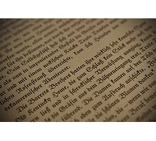 Old Book German Font Photographic Print