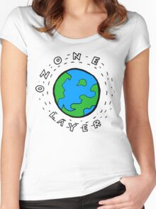 Earth's Ozone Layer Drawing Women's Fitted Scoop T-Shirt