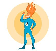 Super Hero Flame Head Man Photographic Print