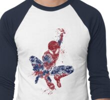 Spider-Man Splatter Art Color Men's Baseball ¾ T-Shirt