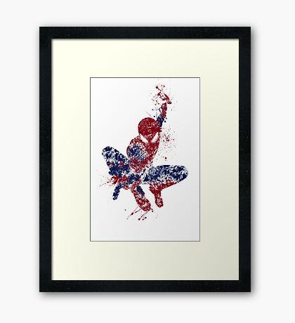 Spider-Man Splatter Art Color Framed Print
