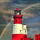 Rainbow Shining Through Lighthouse ~ Farne Islands by Sandra Cockayne
