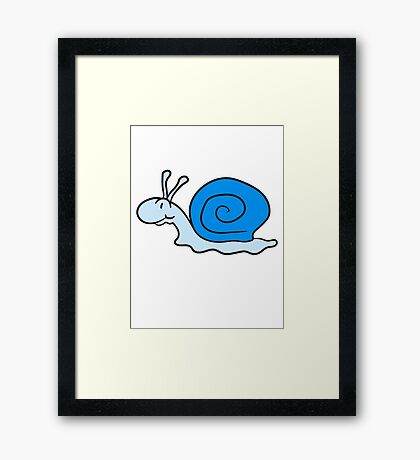 small sweet cute snail blue smile Framed Print