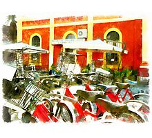 Teramo: railway station and bicycles Photographic Print
