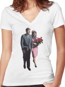 John & Jackie Women's Fitted V-Neck T-Shirt