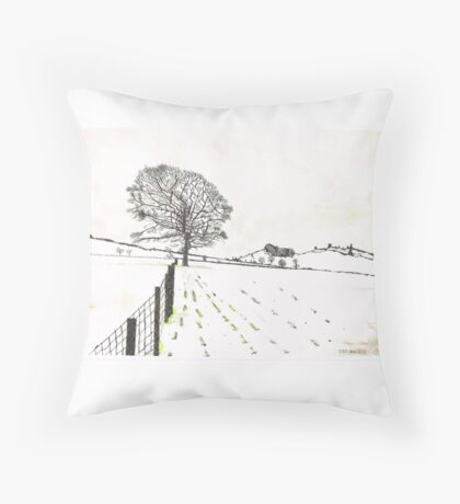 A YORKSHIRE SNOW SCENE Throw Pillow