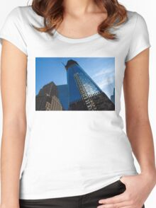 Building the Freedom Tower - One World Trade Center Under Construction Women's Fitted Scoop T-Shirt