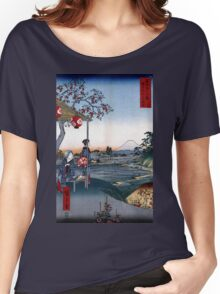 Utagawa Hiroshige The Teahouse with the View of Mt. Fuji Women's Relaxed Fit T-Shirt