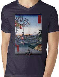 Utagawa Hiroshige The Teahouse with the View of Mt. Fuji Mens V-Neck T-Shirt