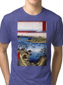 Utagawa Hiroshige Wild Goose Hill and the Tone River Tri-blend T-Shirt