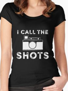 I call the shots White Graphic Women's Fitted Scoop T-Shirt