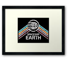 Vintage Spaceship Earth with Distressed Logo in Retro Style Framed Print
