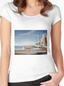 Spanish Coast Oil on Canvas Women's Fitted Scoop T-Shirt
