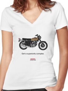 """HONDA CB750 FOUR """"GET A SUPERIORITY COMPLEX"""" Women's Fitted V-Neck T-Shirt"""
