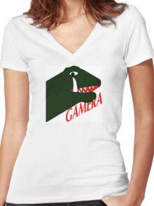 Gamera - White Women's Fitted V-Neck T-Shirt