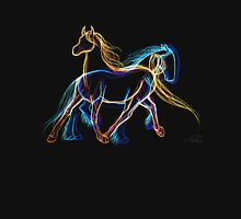 Fire and Ice Trotting Horses Sketch Unisex T-Shirt