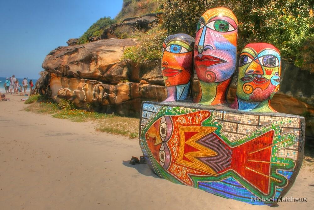 Colourful Sculpture by the Sea by Michael Matthews