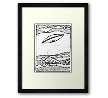 UFO with Whimsical Landscape and Night Sky Framed Print