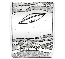 UFO with Whimsical Landscape and Night Sky Poster