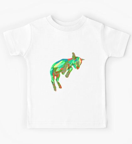 Leaping Red n Green Goat Kids Tee