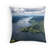 Helicoptering Over Sørfjorden Throw Pillow