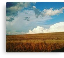 Clouds over dry fields Canvas Print