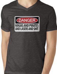 Ninjas and Pirates and Lasers, Oh My! Mens V-Neck T-Shirt